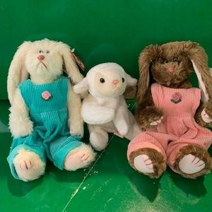 Lot of 3 Beanie Buddies TY Easter Bunny Lamb